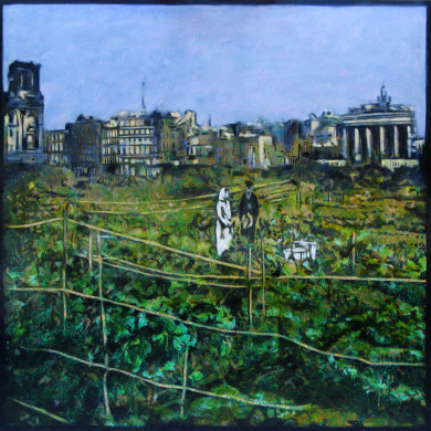 Reichstag e Repolho  Tempera e óleo sobre linho belga   150 x 150 cm  Lisboa 2006